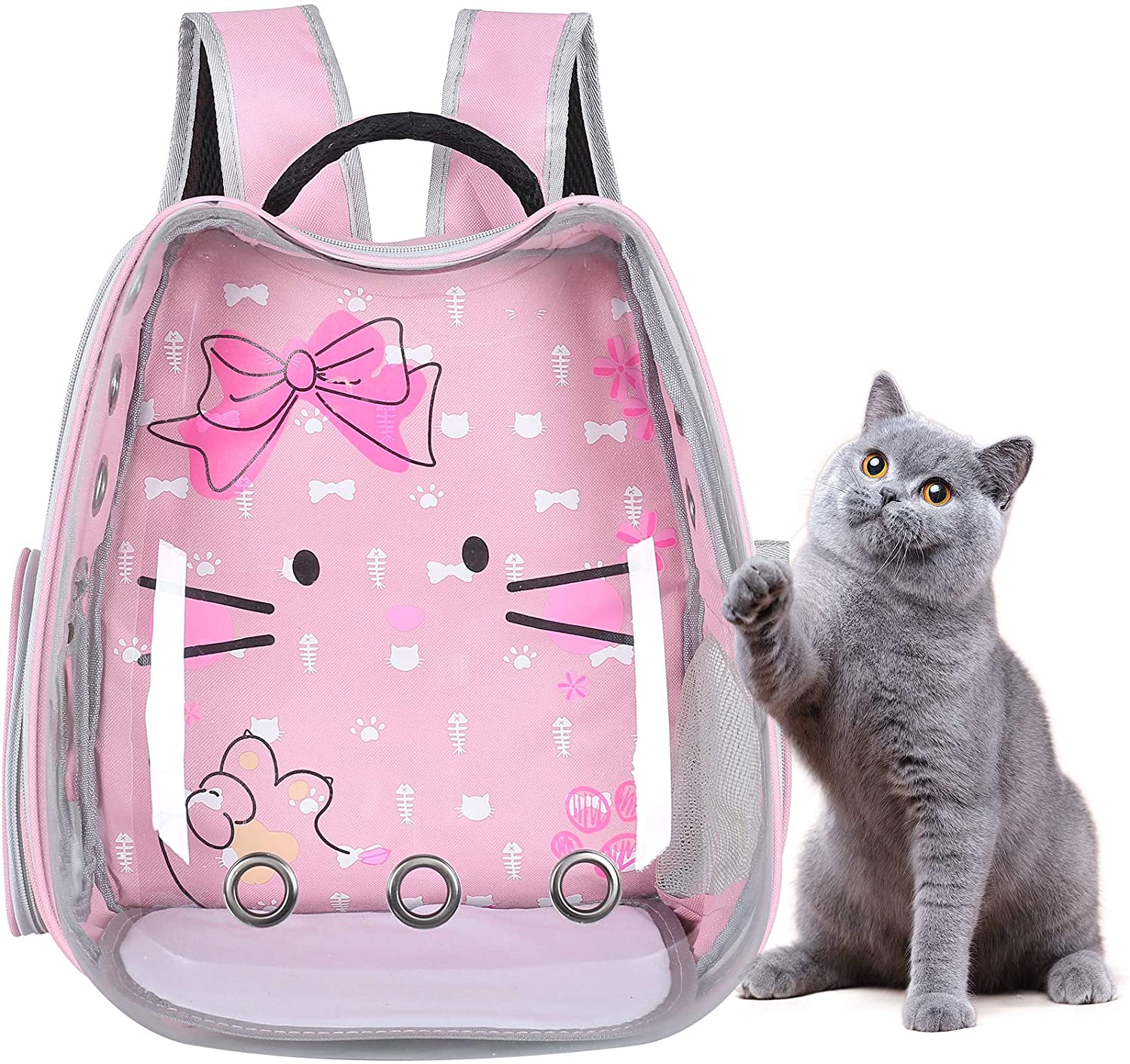 Grosee Cat Backpack Carrier, Cat Shaped Transparent Bubble Pet Carrier for Small Dog, Portable Travelling Backpack Airline-Approved for Hiking and Outdoor Use