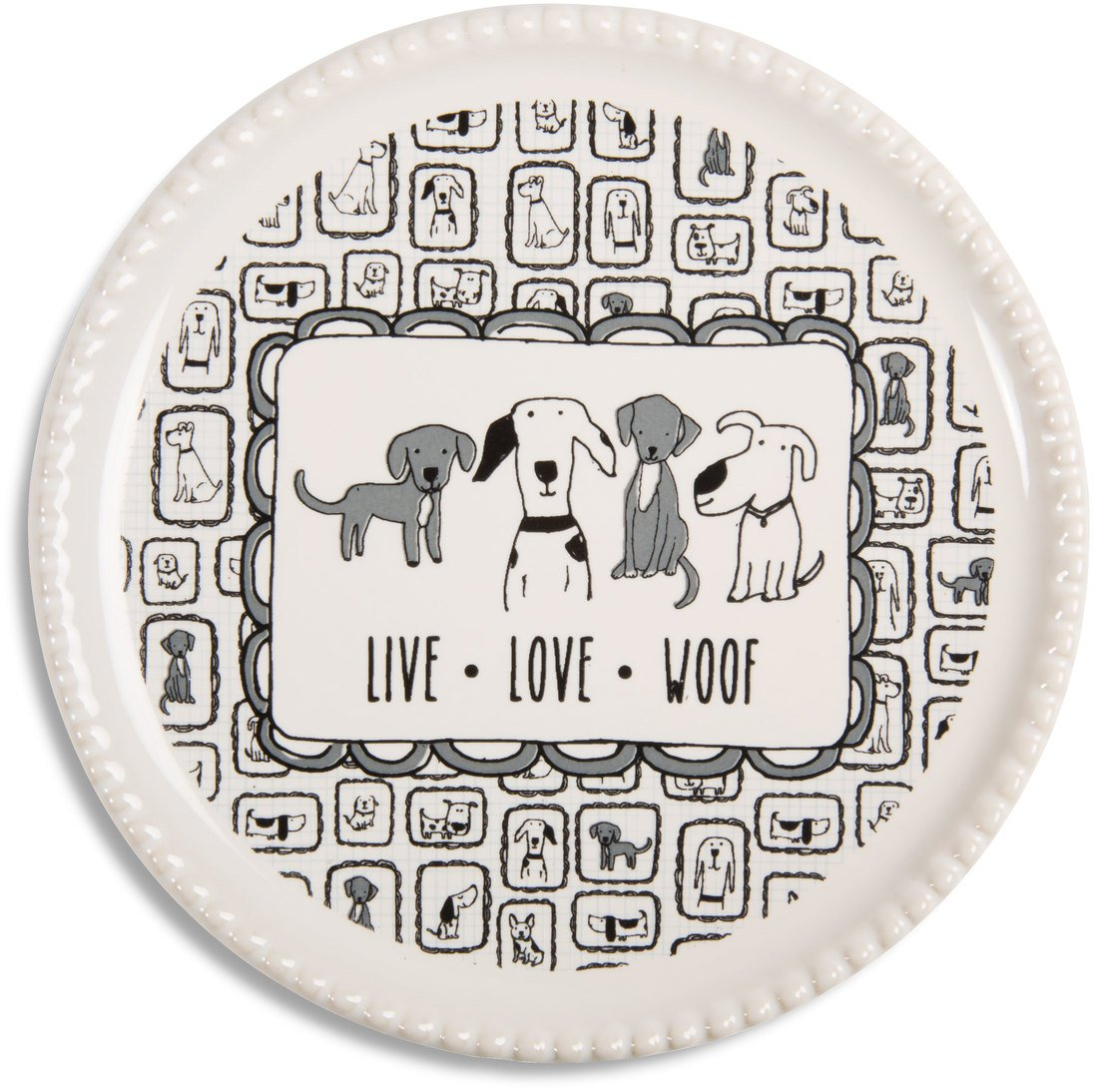 Pavilion - Live. Love. Woof Dog Ceramic Coaster Cap:Jewelry Dish:Drink Coaster