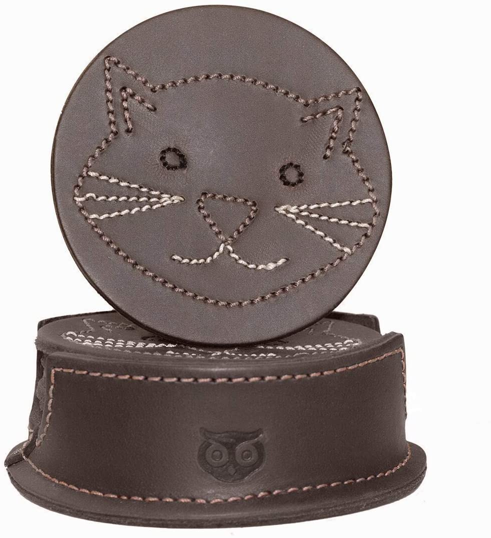 Hide & Drink, Durable Thick Leather Whiskers Cat / Animal Farm Classic Shaped Coasters (6-Pack) Handmade :: Bourbon Brown
