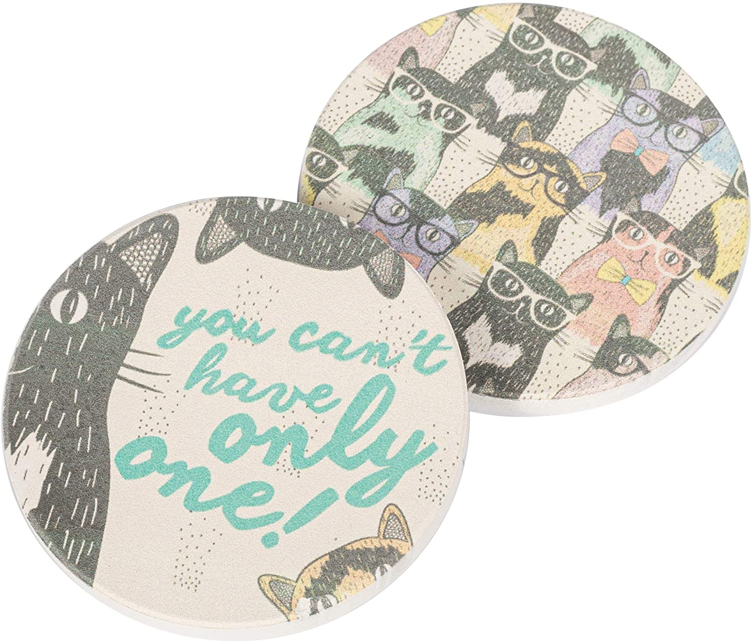 Cat Crazy, You Can't Only Have One 2.75 x 2.75 Absorbent Ceramic Car Coasters Pack of 2