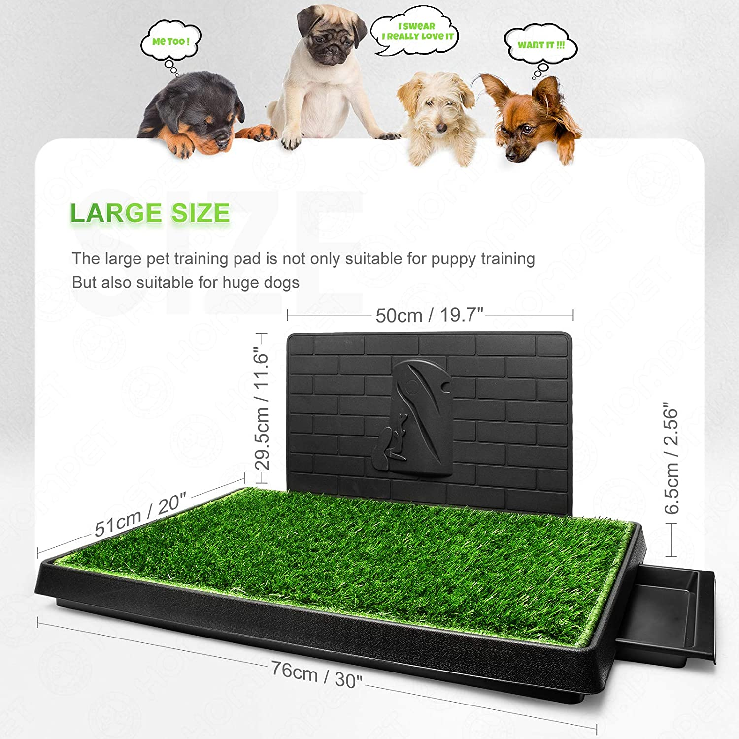 Hompet Dog Grass Pad with Tray Large, Puppy Turf Potty Training Pads with Pee Baffle, Artificial Grass Patch for Indoor and Outdoor Use, Ideal for Small and Medium Dogs