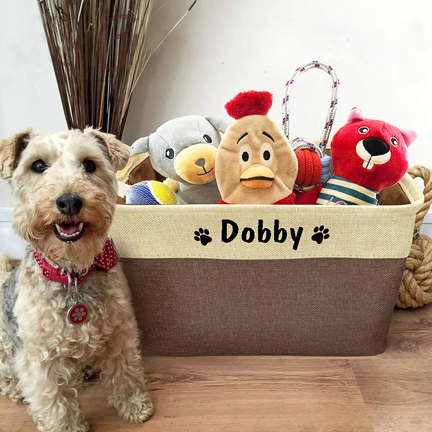 PET ARTIST Collapsible Dog Toy Storage Basket Bin with Personalized Pet's Name - Rectangular Storage Box Chest Organizer for Dog Toys,Dog Coats,Dog Clothing,Dog Apparel & Accessories